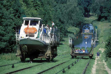 Boot wird auf Schienen zum Wasser tranportiert