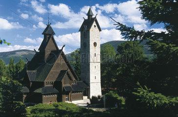 Polen - Schlesien: Kirche Wang in Krummhuegel - Karpacz