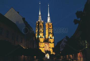 Polen - Schlesien: Breslau - Wroclaw  Dom auf Dominsel bei Nacht