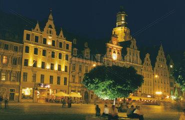 Polen - Schlesien: Breslau - Wroclaw  Ring in der Altstadt bei Nacht