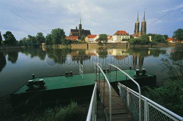 Polen - Schlesien: Breslau - Wroclaw  Dominsel auf der Oder