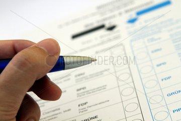 Stimmzettel fuer die Bundestagswahl