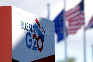 Flaggen von USA und EU auf dem G20-Gipfel in Russland