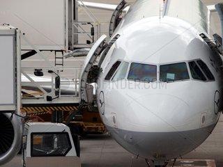 Lufthansa-Maschine wird am Flughafen beladen