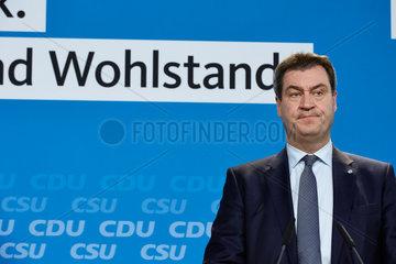 Berlin  Deutschland - Markus Soeder  CSU-Vorsitzender und Ministerpraesident von Bayern.