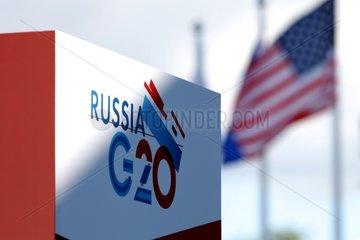 USA-Flagge auf dem G20-Gipfel in St. Petersburg