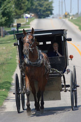 Topeka  USA  Pferdefuhrwerk der Amish People faehrt auf der Landstrasse