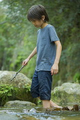 Boy wading in stream