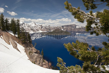 Scenic view of Crater Lake National Park  Oregon  USA