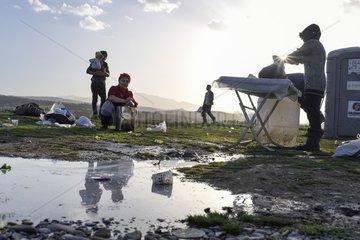 Fluechtlinge an der griechisch-mazedonischen Grenze