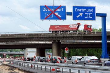 Teilsperrung der Autobahn A 59 bei Duisburg