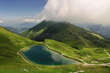 Kuenstlich angelegter See  Speichersee am Fellhorn  Allgaeu  Allgaeuer Alpen  Bayern.