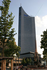 Leipzig  mdr-Sitz  Neues Gewandhaus und Mendebrunnen