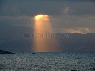 Lichtstrahl Lichtschein Abendsonne Insel Paros Griechenland Kykladen 2