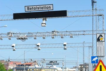Mautstation mit Sensoren-Kameras in Stockholm  Schweden