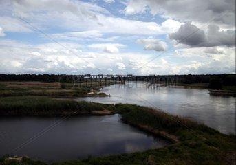 Fluss Oder an der Grenze Deutschland - Polen