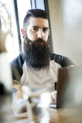 Man with hipster beard  portrait