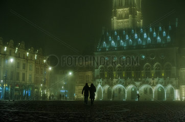 Night view of the Town Hall and Belfry in Arras  France