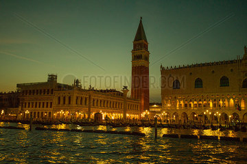 St. Mark's Square and St. Mark's Campanile viewed from the Grand Canal in Venice  Italy