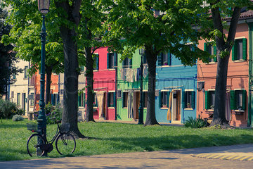 Colorful row houses in Burano  Venice  Italy