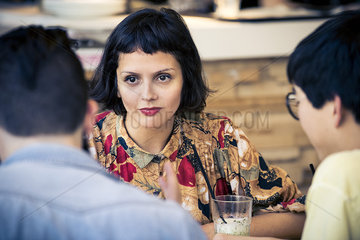 Woman looking at companion