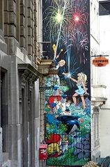 Comic -Wandmalerei in Bruessel
