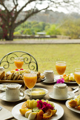 Fresh fruit and juice on outdoor table