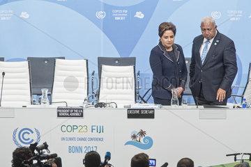 UN-Klimakonferenz Bonn 2017 - Patricia Espinosa Cantellano  Frank Bainimarama
