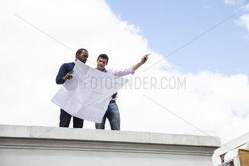 Engineer showing colleague development plan