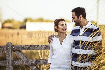 Couple on walk through countryside