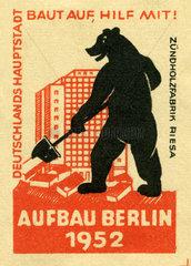 Aufbau Berlin 1952  Streichholzetikett