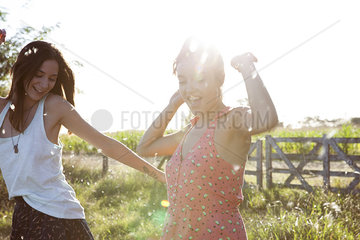 Friends spending carefree day together outdoors