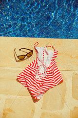 Badeanzug und Brille am Beckenrand
