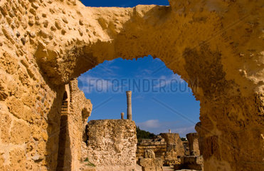 Carthage Tunisia old city with Roman baths of Antoninus Pius in 138 AC in Africa
