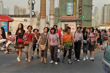 Shanghai. Chinesische Touristengruppe