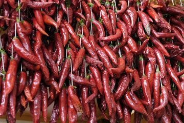 Madeira: Peperoni in der Markthalle von Funchal