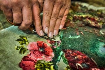 Teppichmanufaktur in der Islamischen Republik Iran.