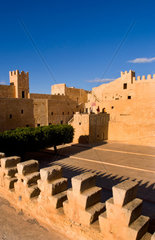 Famous Ribat fort in the 700 AD monastery in Sousse area Monastir Tunisia Africa