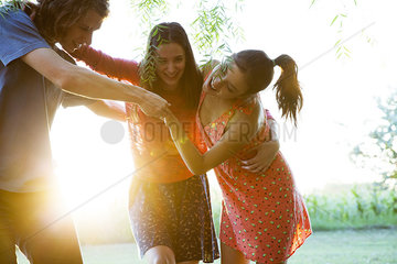 Friends spending carefree afternoon together outdoors