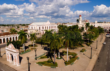 Aerial nbirdseye view of square in downtown ceneter of Cienfuegos Cuba