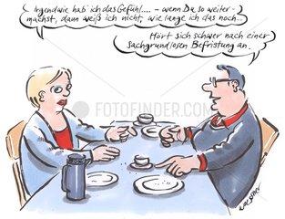 Paar am Tisch Beziehungsgespraech