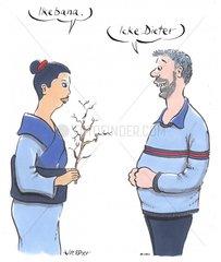 Japanerin mit Ikebana
