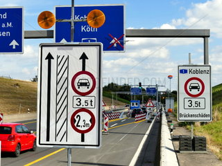 truck barrier at the access to the motorway bridge Leverkusen