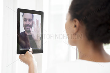 Couple doing video chat