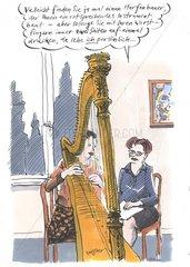 Musiklehrerin Musikunterricht Harfe Schuelerin