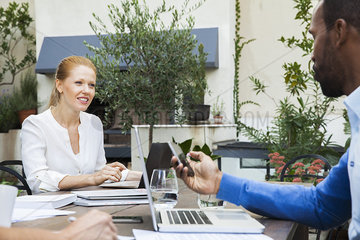 Remote business meeting by conference call