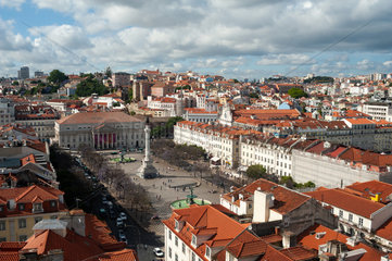 Lissabon  Portugal  Blick auf den Rossio oder Praca Dom Pedro IV