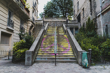 France  Paris  peace sign on stairs in the district Montmartre