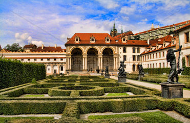 Beautiful gardens in the Wallenstein Gardens in the beautiful famous Old Town district of tourist city of Prague in Czech Republic