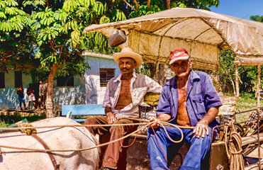Two men on buggie going to work in small village of Australia Cuba farm country